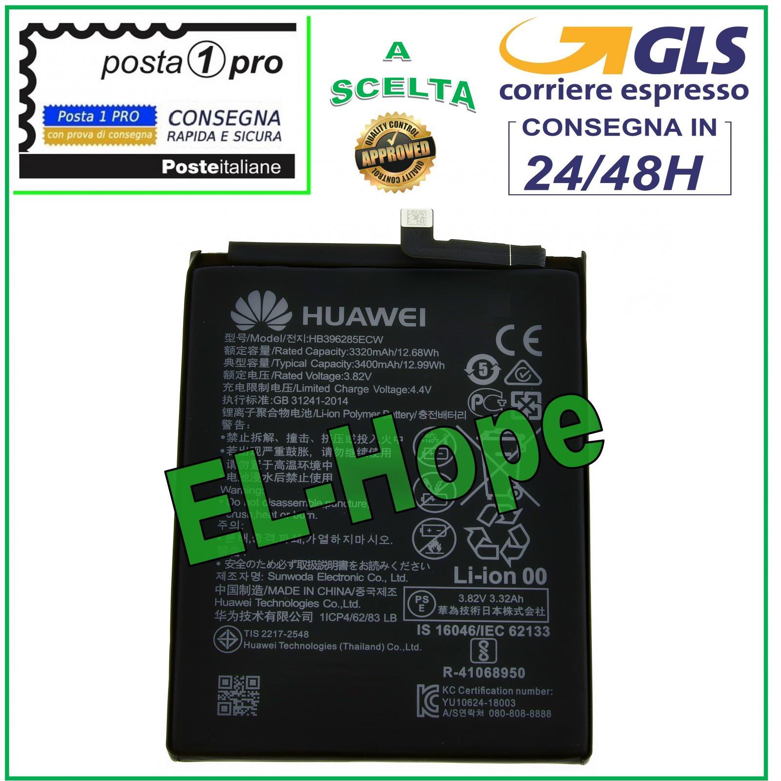 Huawei Batteria HB396285ECW Originale per P20 HONOR 10 3400mAh RICAMBIO Nuova
